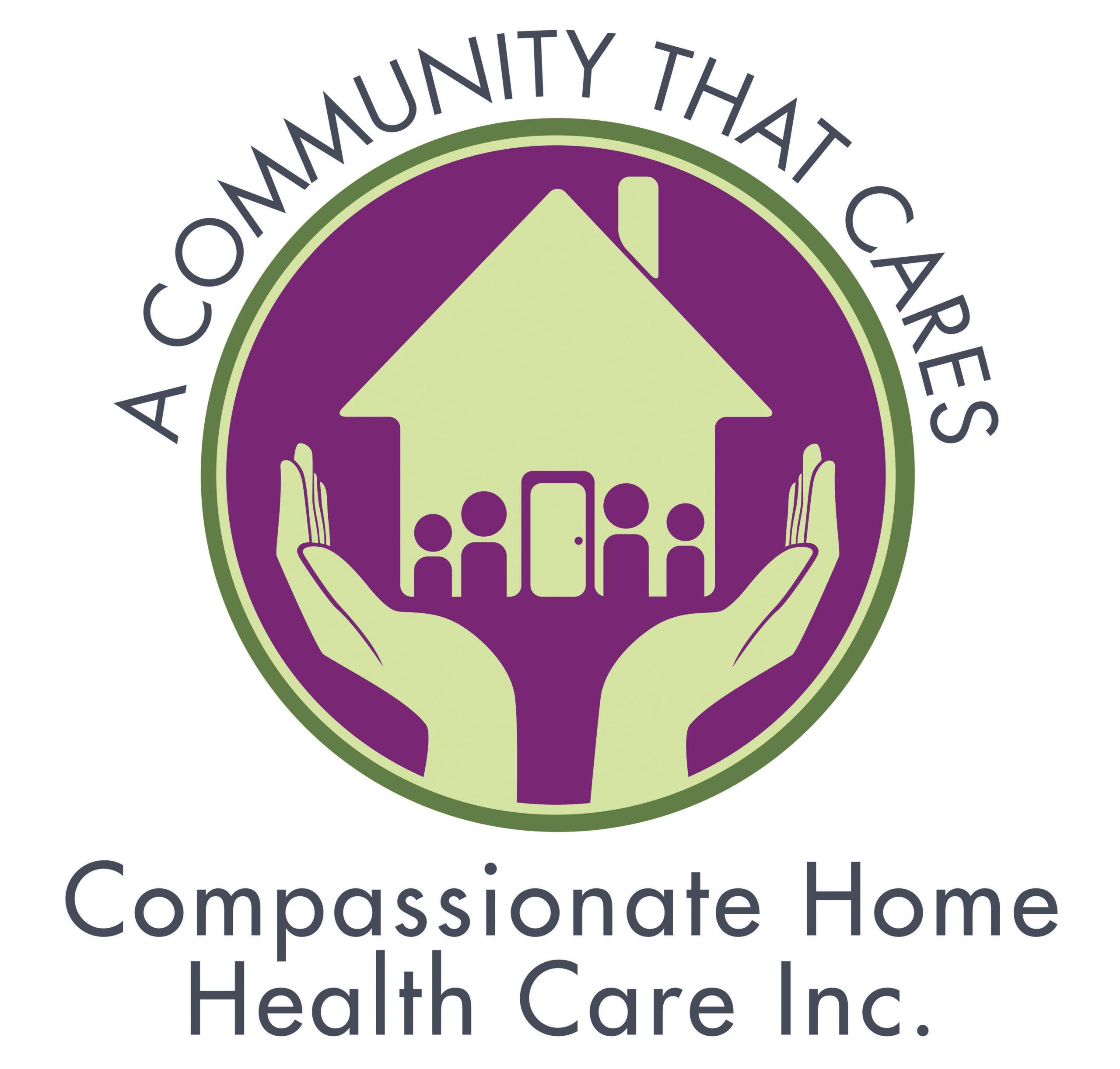 """A Community that Cares"" Compassion Home Health Care Inc. Logo"