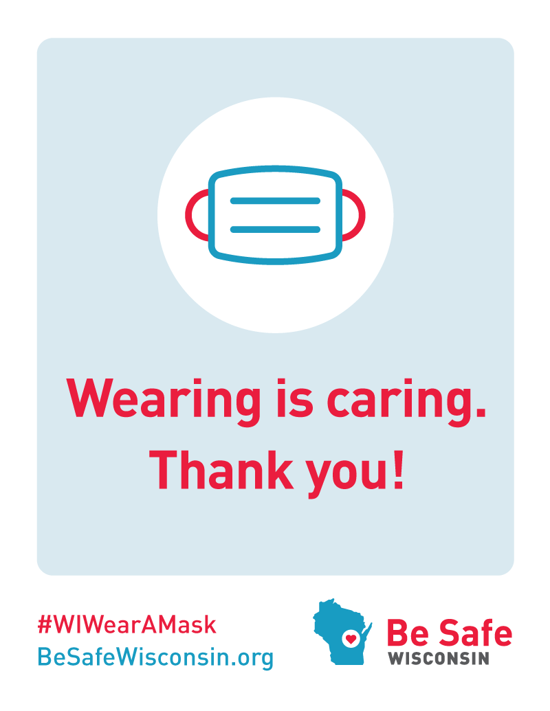 """Wearing is Caring. Thank you!"" Business Window Cling"