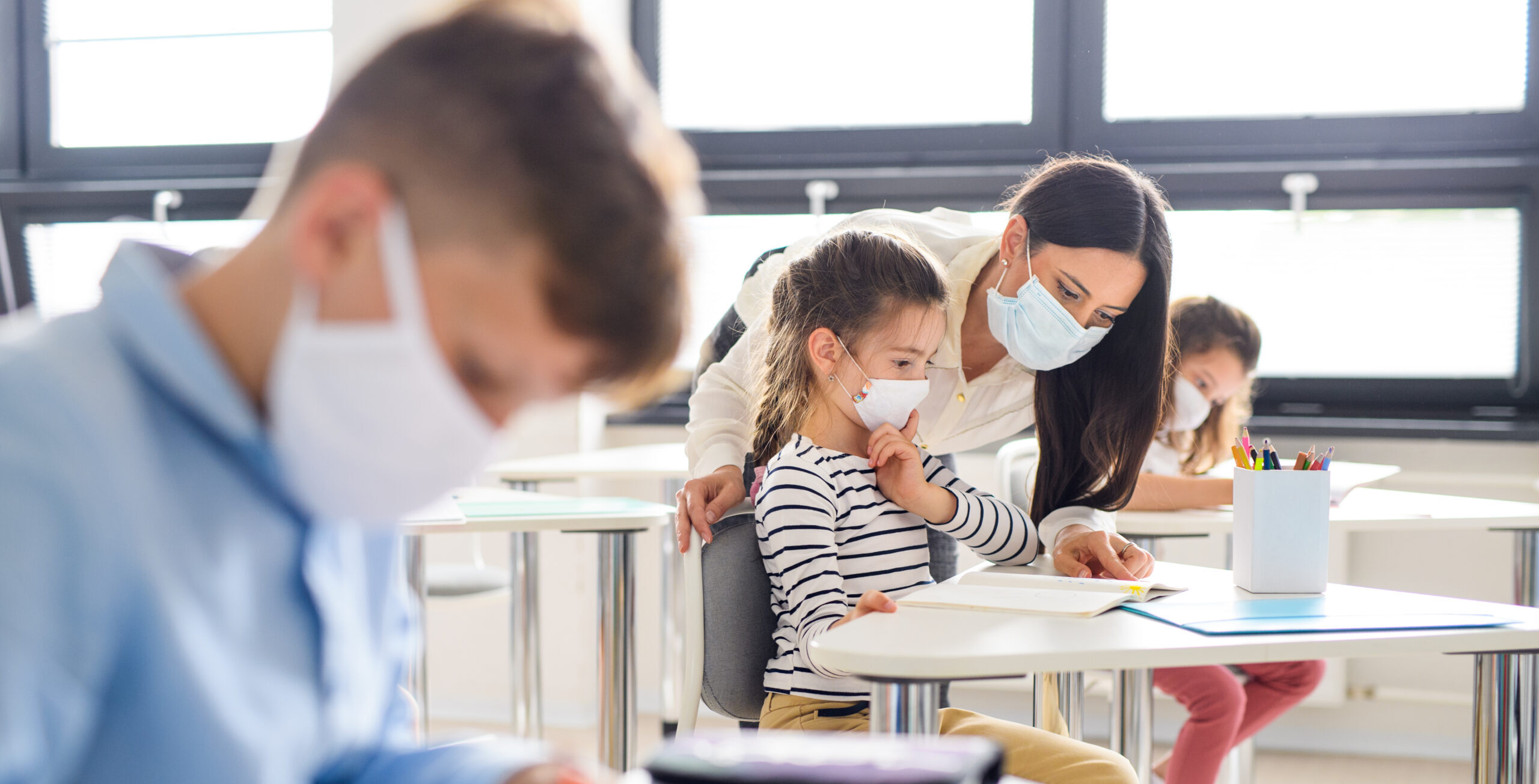 Students wearing face masks in the classroom